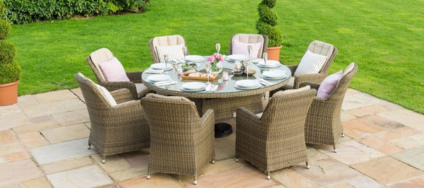 Winchester Round Ice Bucket Dining Set With 8 Venice Chairs