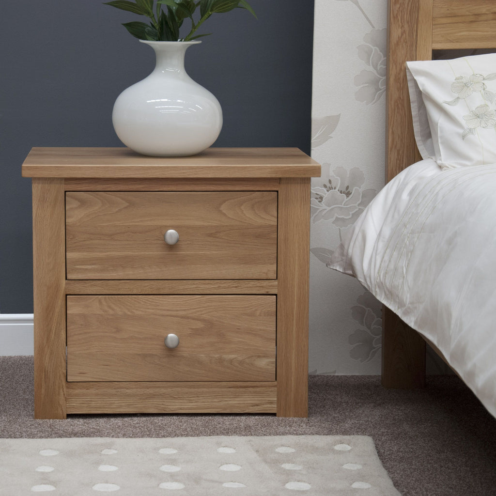 Torino 2 Drawer Wide Bedside Cabinet