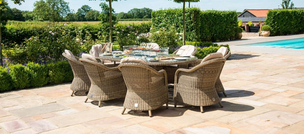 Winchester Oval Fire Pit Dining Set With 8 Heritage Chairs