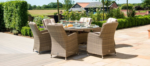 Winchester Oval Fire Pit Dining Set With 6 Venice Chairs
