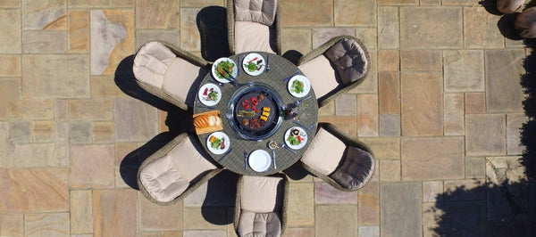 Winchester Round Fire Pit Dining Set With 6 Heritage Chairs