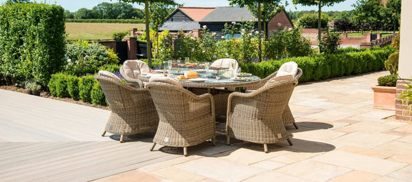 Winchester Oval Fire Pit Dining Set With 6 Heritage Chairs