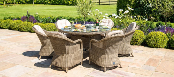 Winchester Round Ice Bucket Dining Set With 6 Heritage Chairs