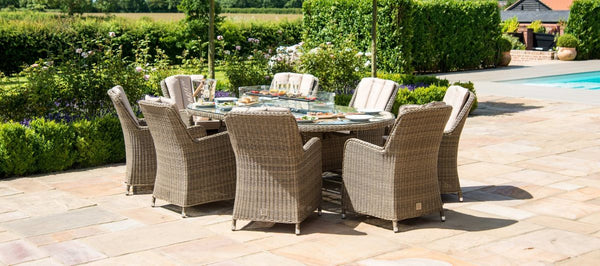 Winchester Oval Fire Pit Dining Set With 8 Venice Chairs
