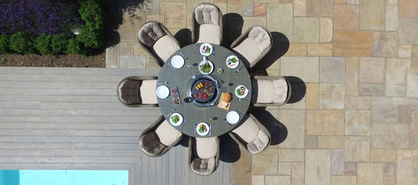 Winchester Round Fire Pit Dining Set With 8 Heritage Chairs