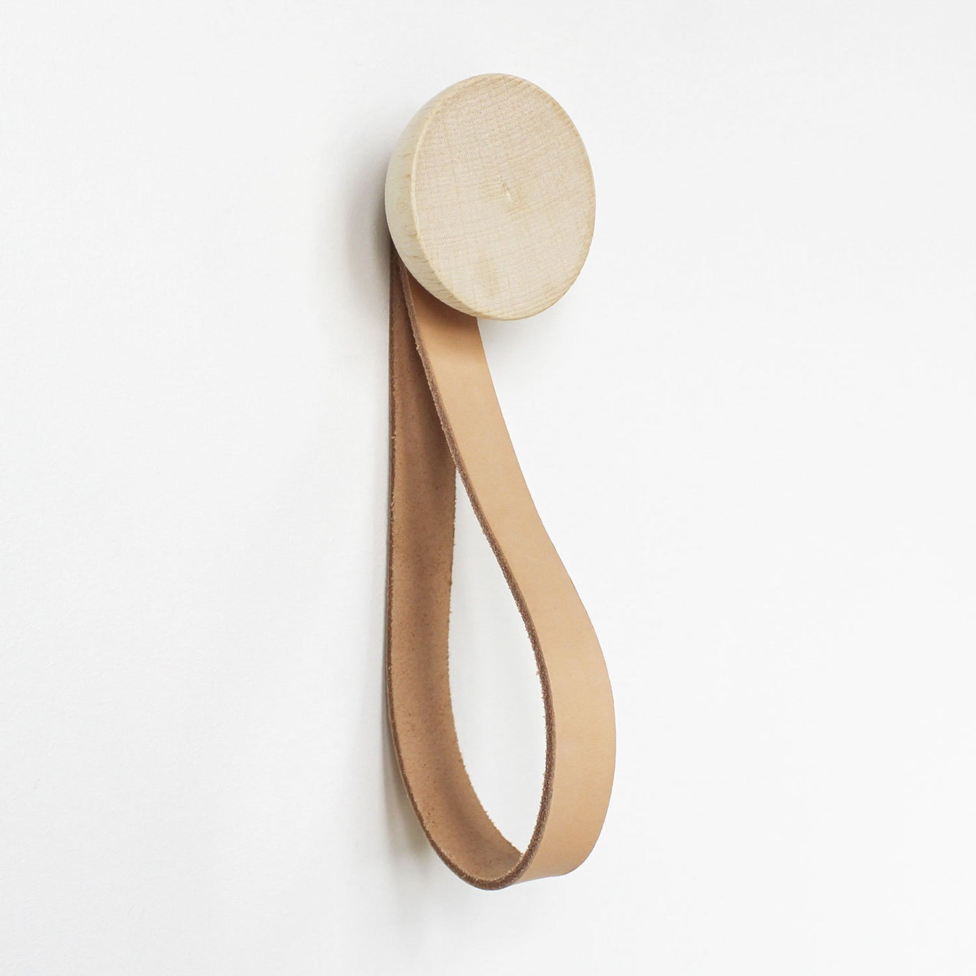 round beech wood hook with leather loop