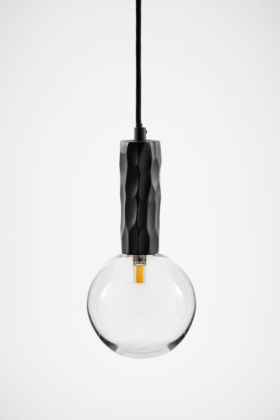 Black Kyoto Pendant Light with Clear Glass Sphere