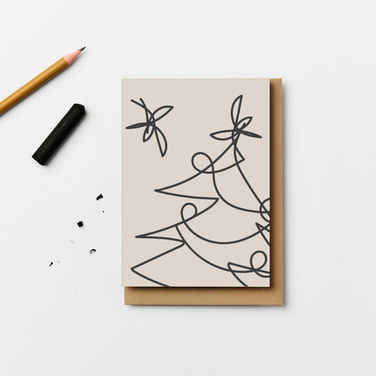Blanc Tree Lines Christmas Card | Pack