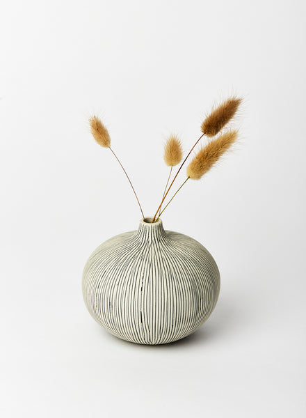 Medium Bari Grey Striped Bud Vase