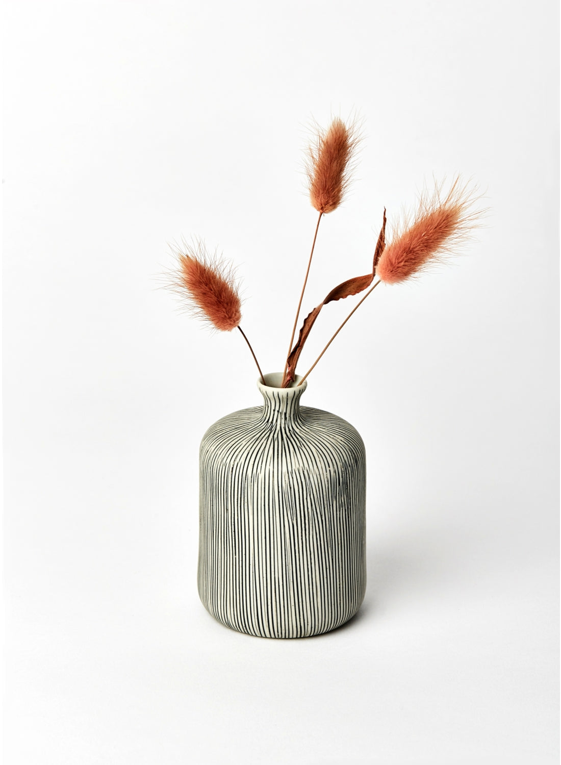 Medium Grey Striped Bottle Bud Vase