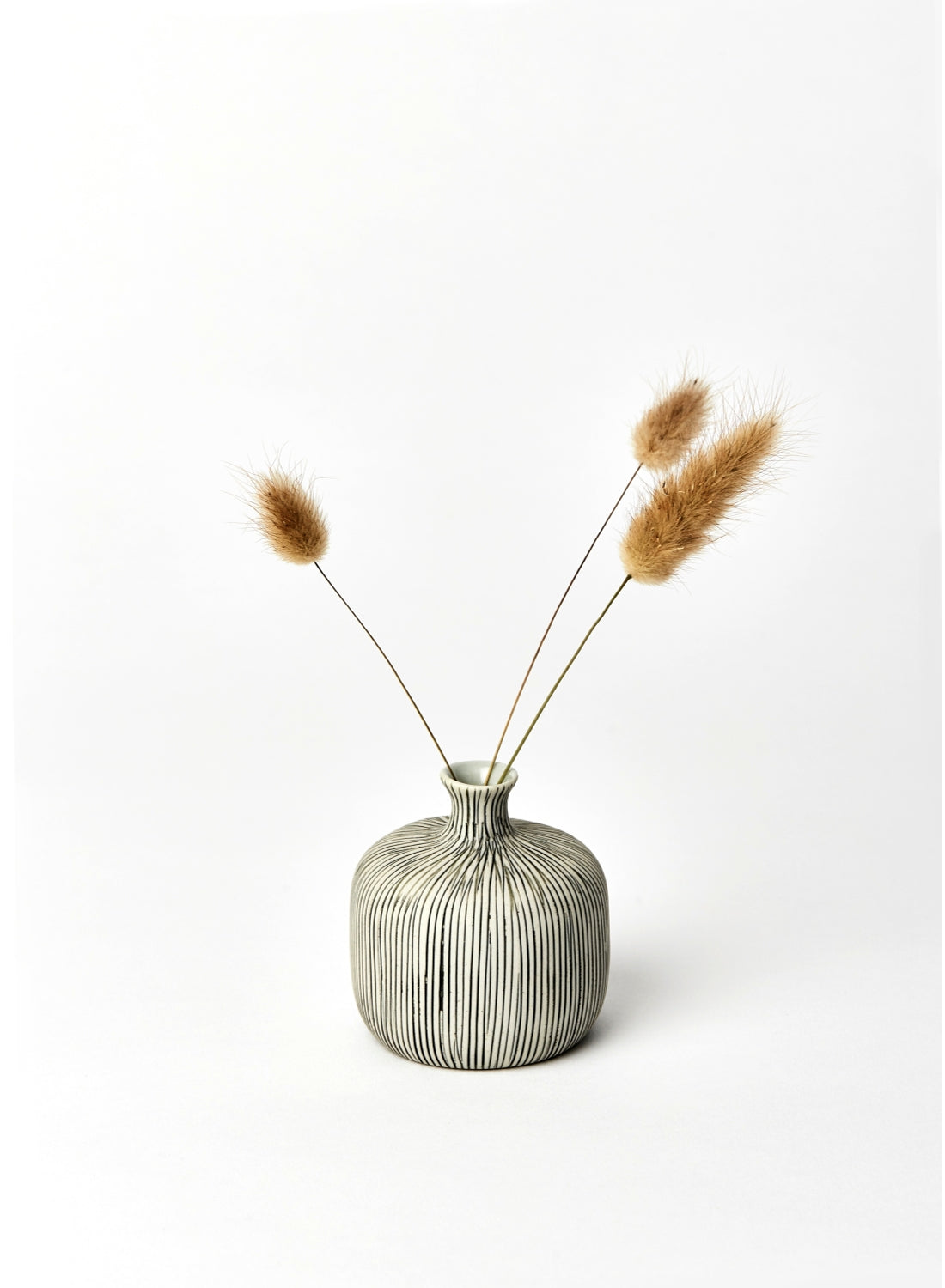 Small Grey Striped Bottle Bud Vase
