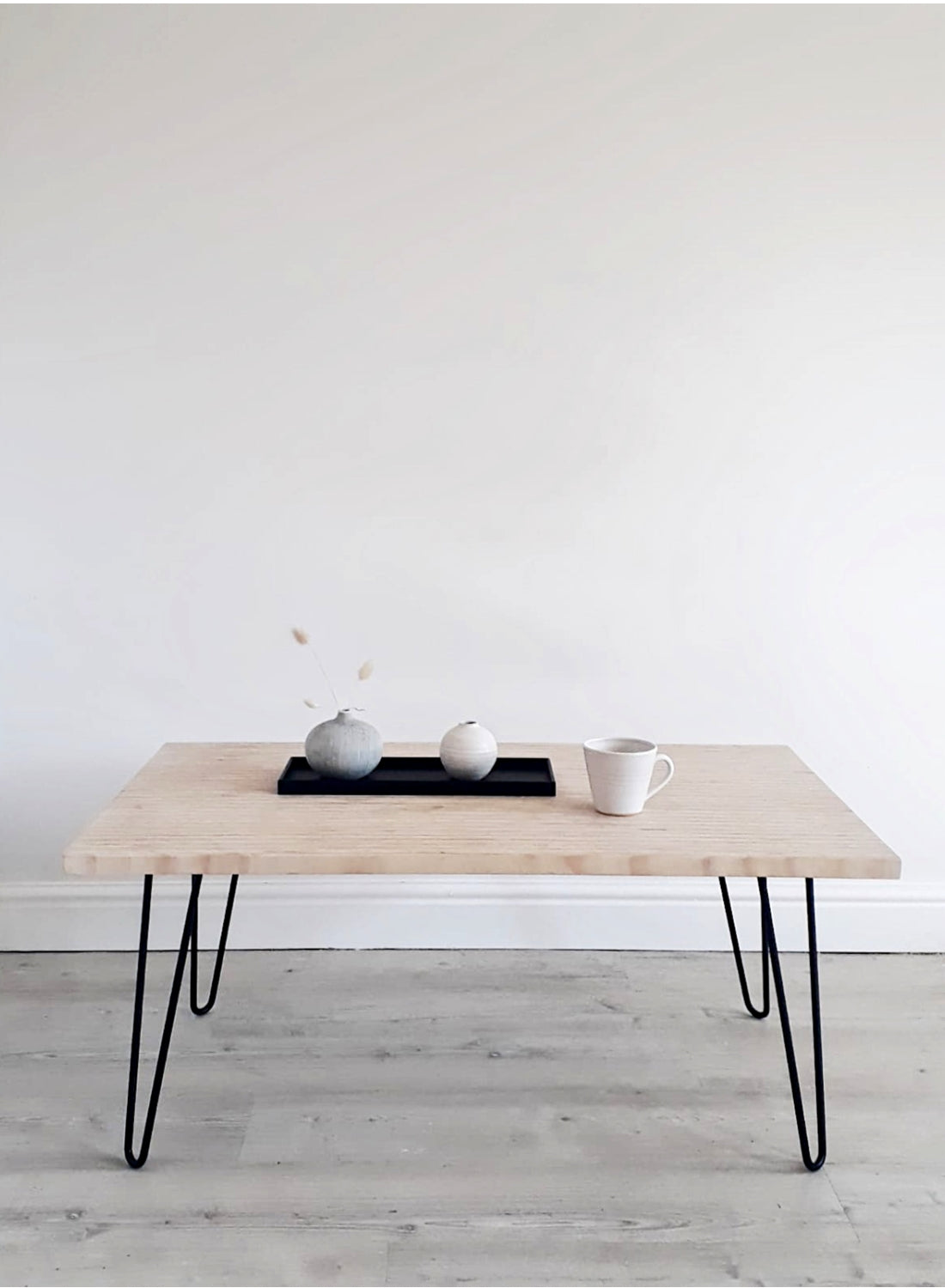 End Grain Coffee Table with Black Hairpin Legs