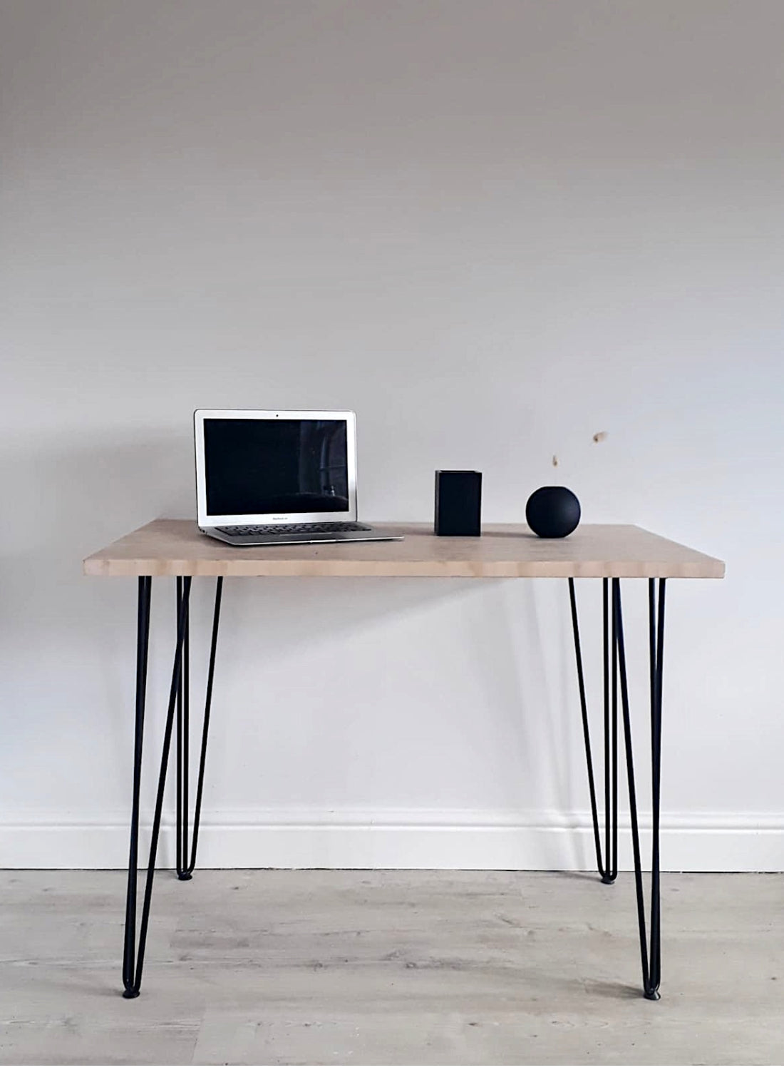 End Grain Home Office Desk with Black Hairpin Legs