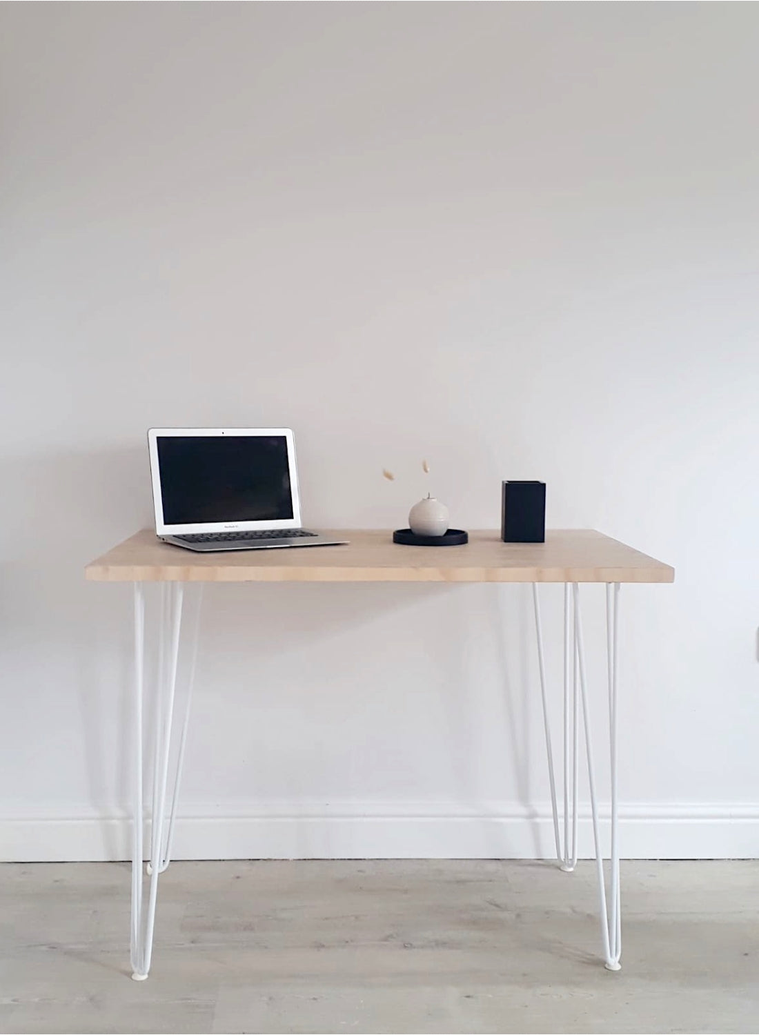 End Grain Home Office Desk with White Hairpin Legs