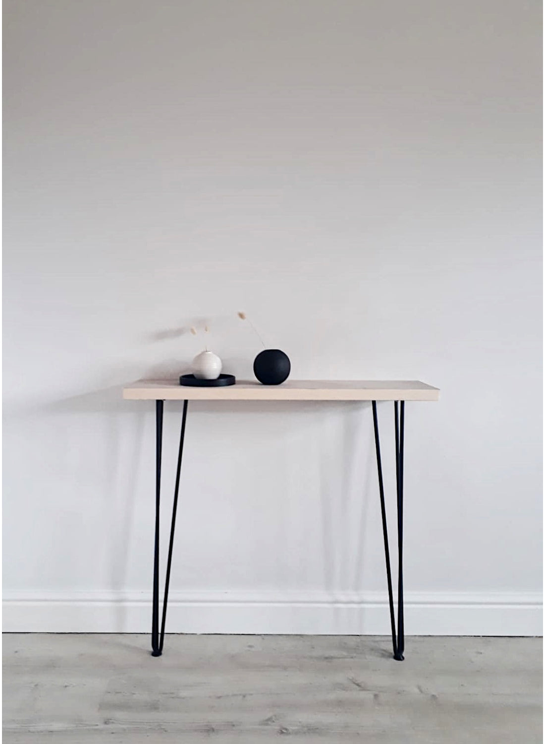 End Grain Console Table with Black Hairpin Legs