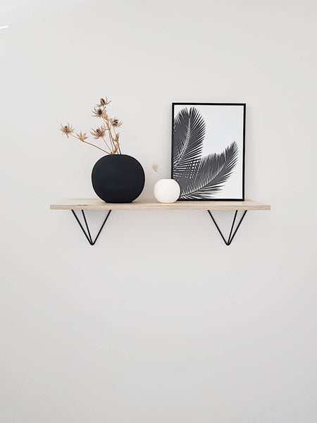 Scandi Display Shelf With Black Prism Brackets