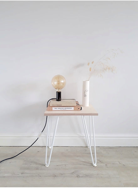 Scandi Low Bedside Table with White Hairpin Legs