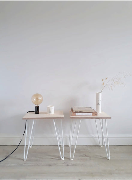 Pair of Scandi Low Bedside Tables with White Hairpin Legs