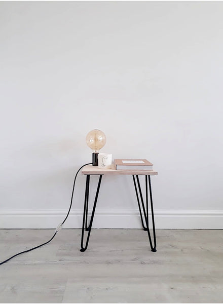 Scandi Low Bedside Table with Black Hairpin Legs