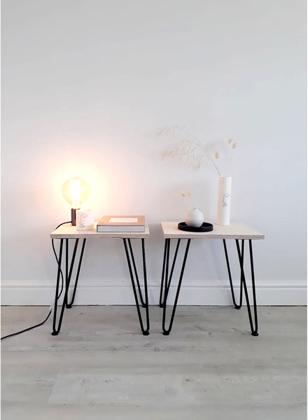 Pair of Scandi Low Bedside Tables with Black Hairpin Legs