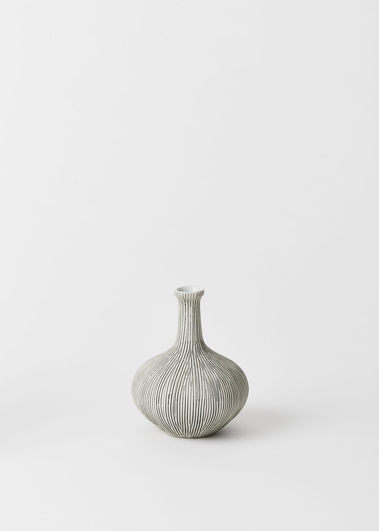 athen grey striped bud vase