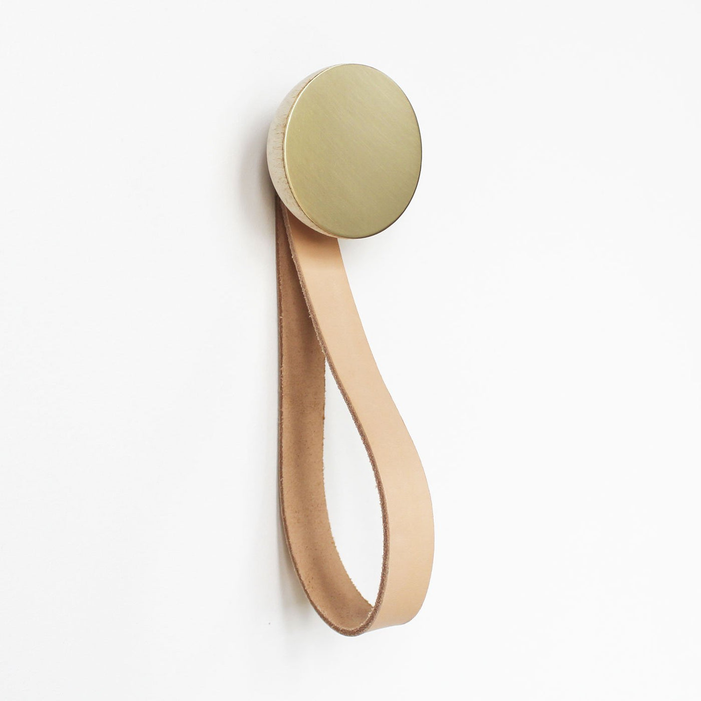 round beech wood and brass hook with leather loop