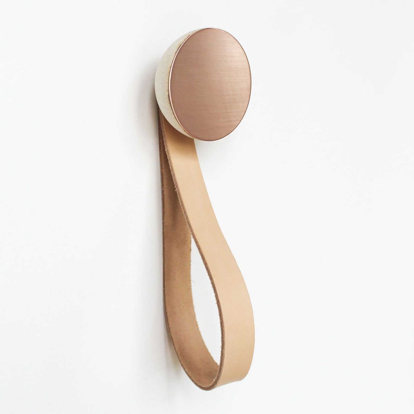 Round Beech Wood & Copper Wall Hook with Leather Loop
