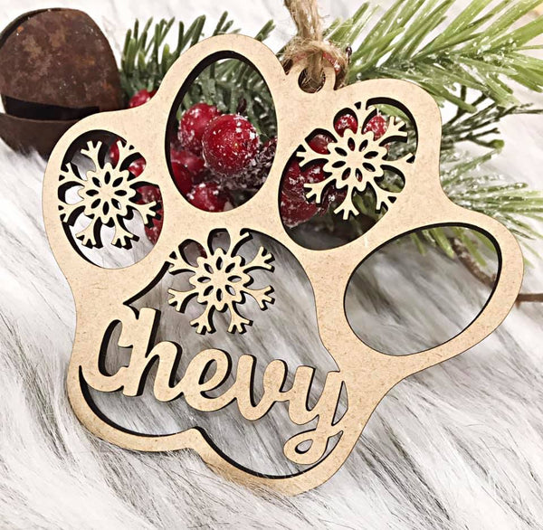 Personalized Pet Paw Ornament
