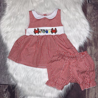 Embroidered Crab Party Bloomer Set
