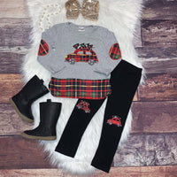 Embroidered Christmas Car Patchwork Top and Leggings
