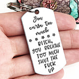 Funny Hand Stamed Curse Word Keychain Great Gift for Friends - Lasting Impressions CT