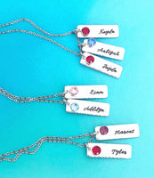 Personalized Hanging Birthstone Vertical Bar Necklace - Lasting Impressions CT
