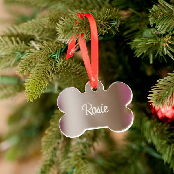 Dog Bone Mirrored Personalized Ornament