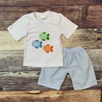 Embroidered Fish Seersucker Boys Set