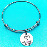 Baby Feet Birthstone Name Bangle Charm Personalized Bracelet - Lasting Impressions CT