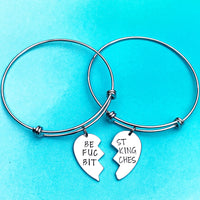 Best Fucking Bitches Split Heart Charm Bracelet Set - Lasting Impressions CT