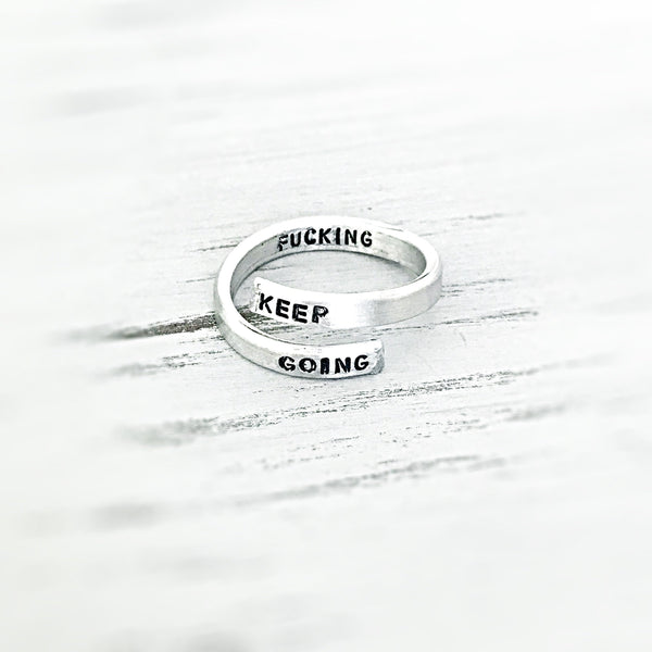 Keep fucking Going Skinny Aluminum Handstamped Stamped Ring