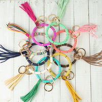 Disc Bangle Key Ring with Sueded Tassel