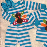 Embroidered Brother & Sister Turkey Pajamas-Girls