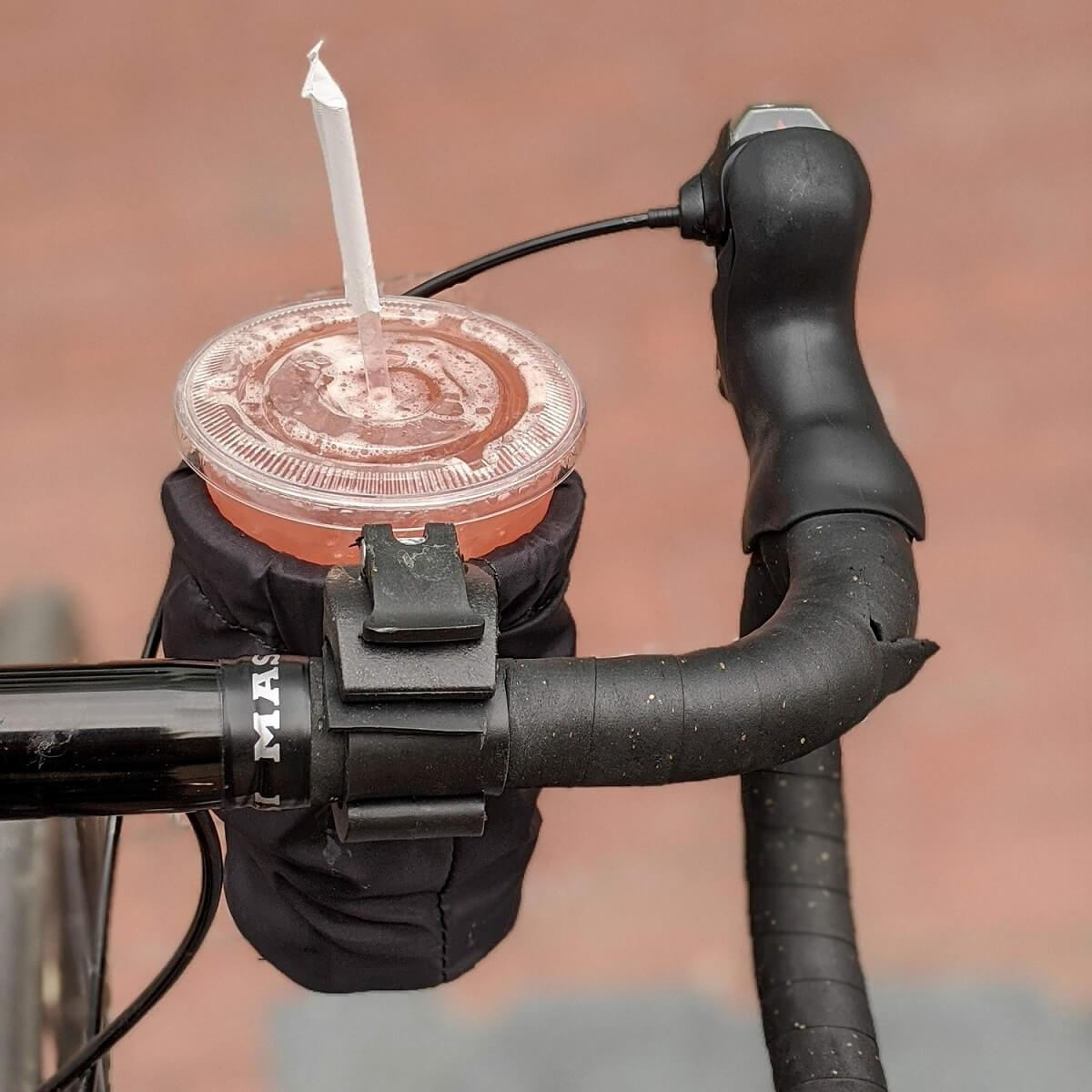 Bike cup holder with to go cup