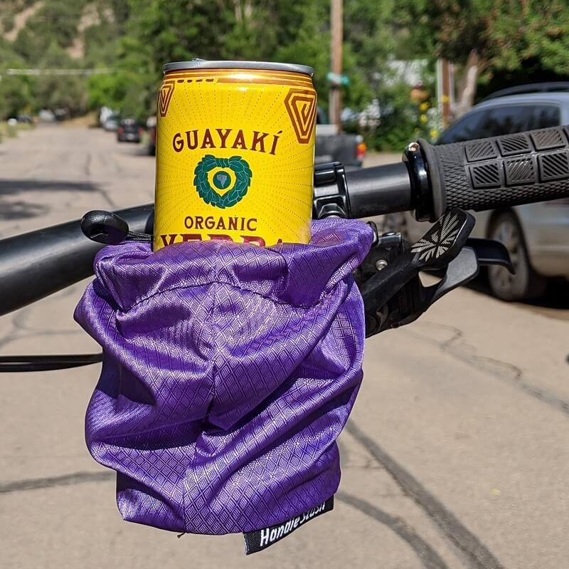 Purple cup holder with can on handlebars (HS2DRP)