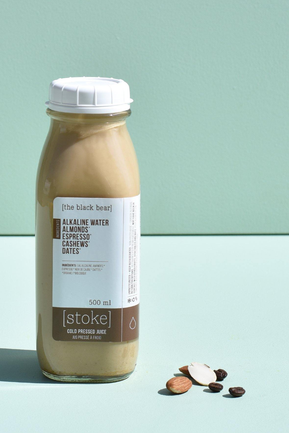 [ the black bear ] cold pressed juice - nut milk - with almonds and cashews