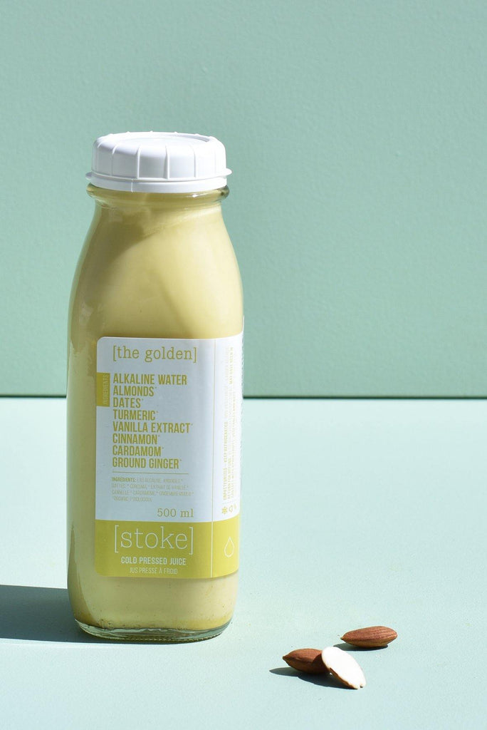 [ the golden ] cold pressed juice - nut milk - with almonds and cardamom