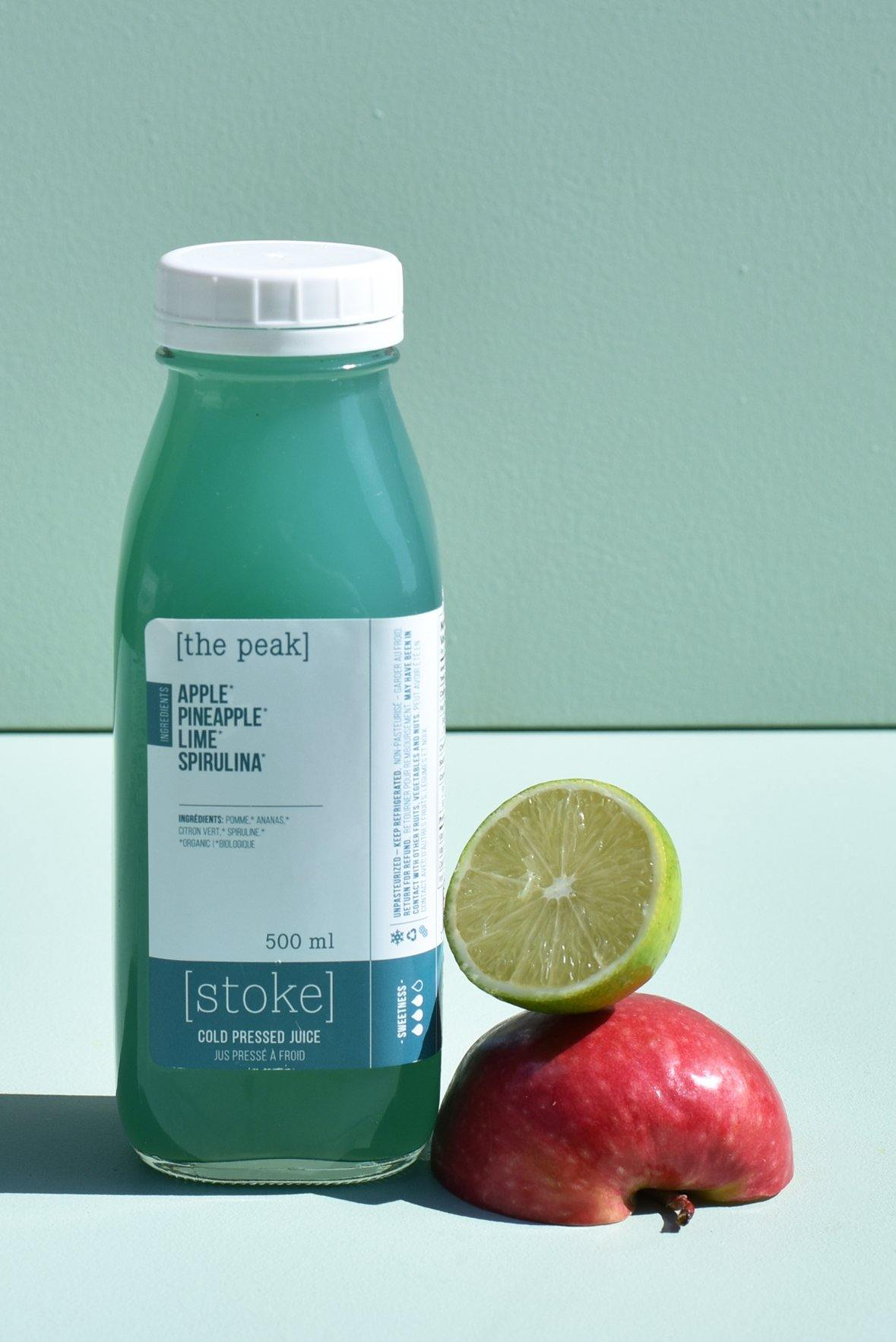[ the peak ] cold pressed juice with pineapple and spirulina