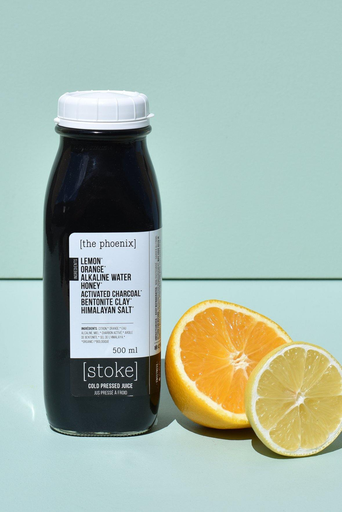 [ the phoenix ] cold pressed juice with activated charcoal, honey and bentonite clay