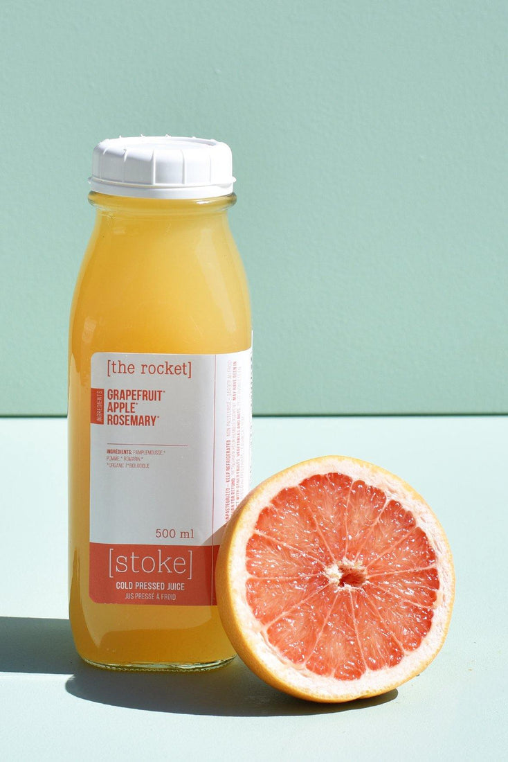 [ the rocket ] cold pressed juice with grapefruit and rosemary