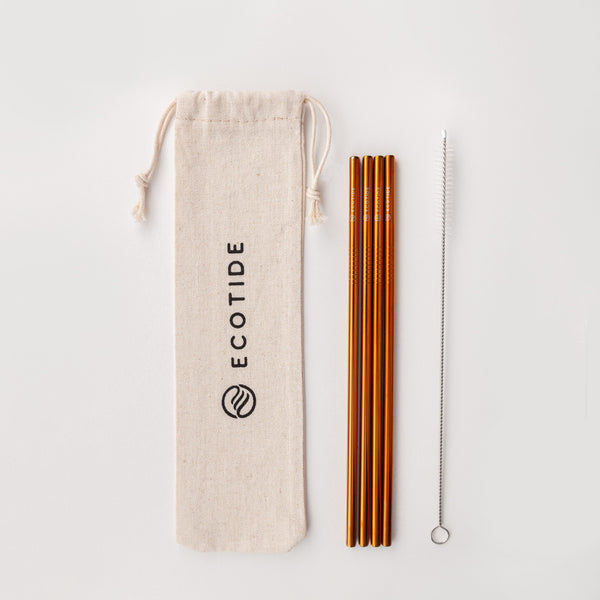 4 Pack Metal Straws - Orange Gold