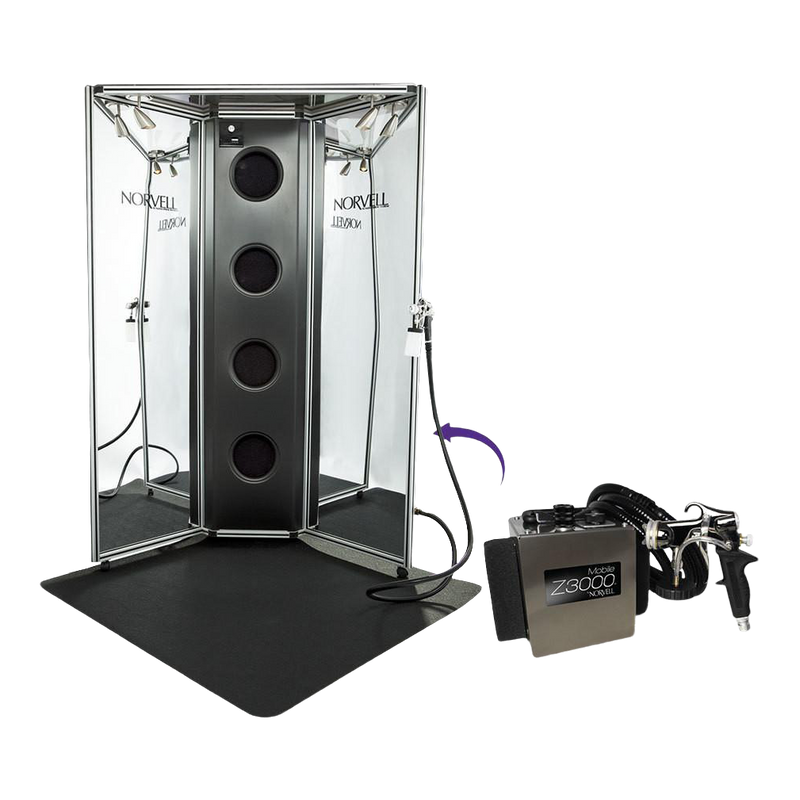 Arena Overspray Reduction Booth with Removable Mobile Z3000 HVLP Spray Unit, Full Color Panels and 4' x 4' Floor Mat