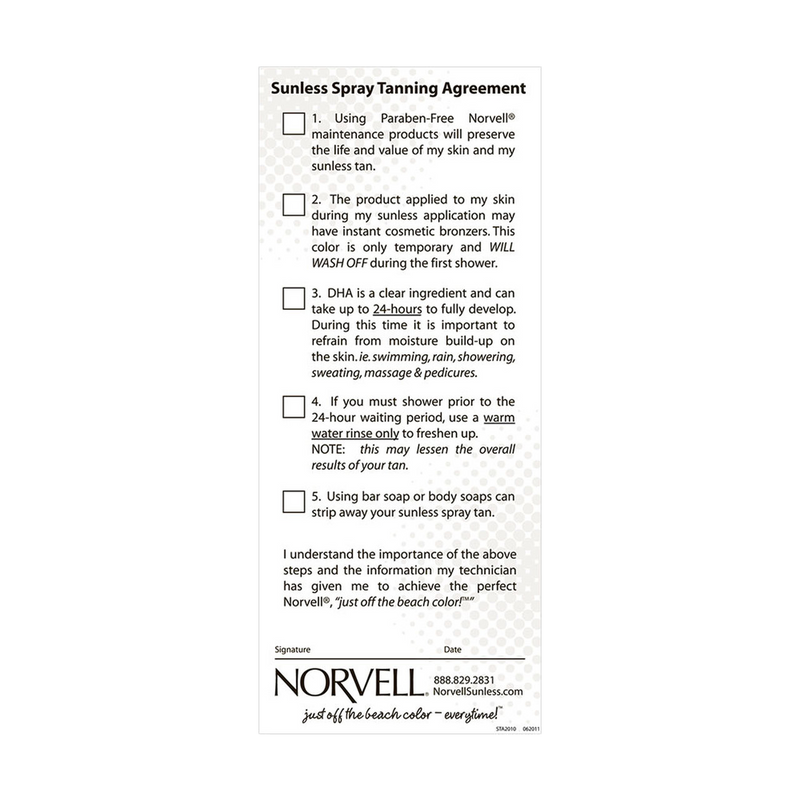 Sunless Agreement (Pre Session Checklist Pad)