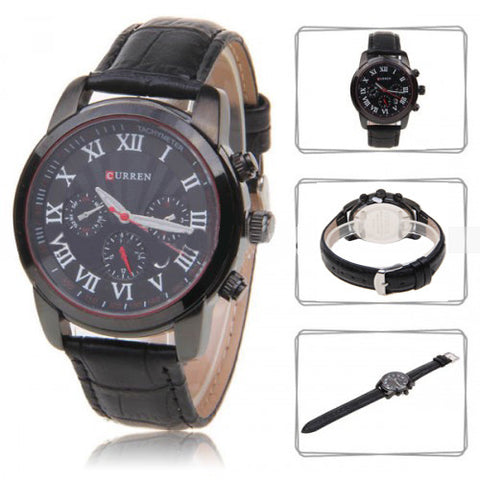 Curren Men's Chronograph with Leather Band (Black 4,2cm Dial) - Roman - CUR079